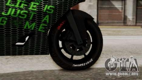 Bati Motorcycle Razer Gaming Edition para GTA San Andreas vista posterior izquierda