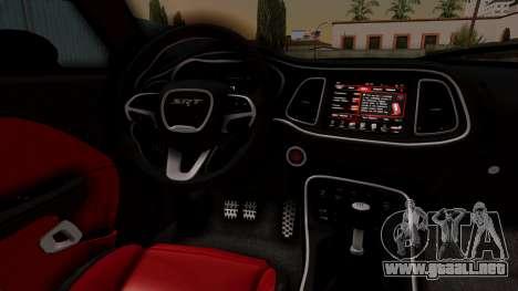 Dodge Challenger SRT Hellcat 2015 IVF para la visión correcta GTA San Andreas