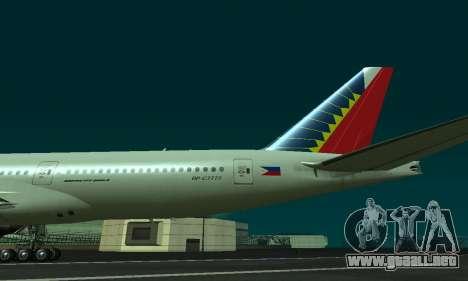 Boeing 777-200LR Philippine Airlines para la visión correcta GTA San Andreas