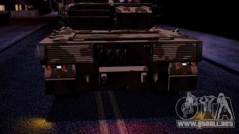GTA 5 Rhino Tank IVF para GTA San Andreas vista hacia atrás