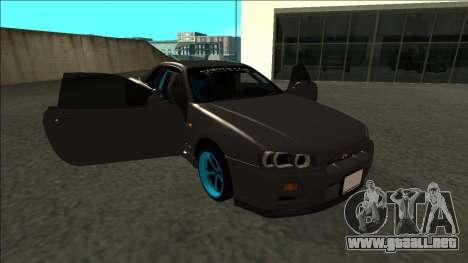 Nissan Skyline R34 Drift Monster Energy para vista lateral GTA San Andreas