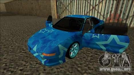 Toyota MR2 Drift Blue Star para GTA San Andreas vista hacia atrás