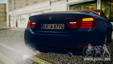BMW M4 F32 Convertible 2014 para la vista superior GTA San Andreas
