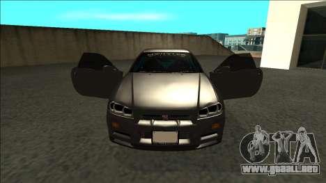 Nissan Skyline R34 Drift Monster Energy para visión interna GTA San Andreas