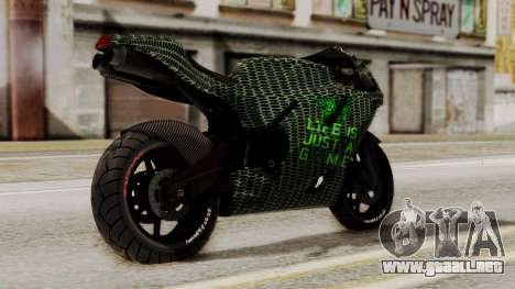 Bati Motorcycle Razer Gaming Edition para GTA San Andreas left