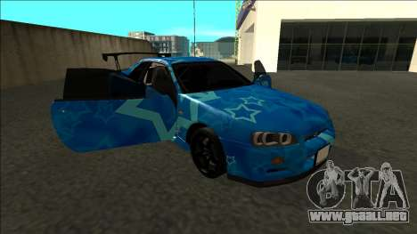 Nissan Skyline R34 Drift Blue Star para vista lateral GTA San Andreas