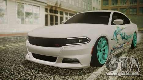 Dodge Charger RT 2015 Hatsune Miku para visión interna GTA San Andreas