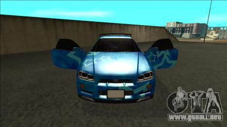 Nissan Skyline R34 Drift Blue Star para visión interna GTA San Andreas