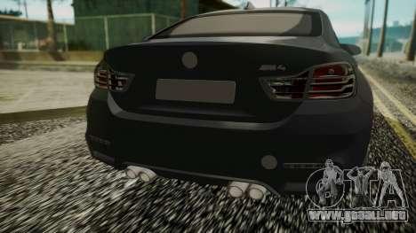 BMW M4 Coupe 2015 Carbon para GTA San Andreas vista hacia atrás