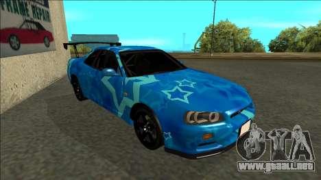 Nissan Skyline R34 Drift Blue Star para GTA San Andreas left