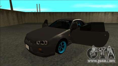 Nissan Skyline R34 Drift Monster Energy para GTA San Andreas vista hacia atrás