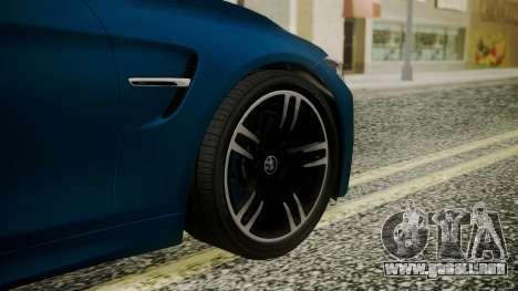 BMW M4 Coupe 2015 Brushed Aluminium para GTA San Andreas vista posterior izquierda