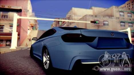 BMW 4 Series Coupe M Sport para GTA San Andreas vista posterior izquierda