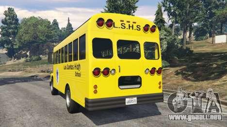 GTA 5 Clásico autobús de la escuela vista lateral izquierda trasera