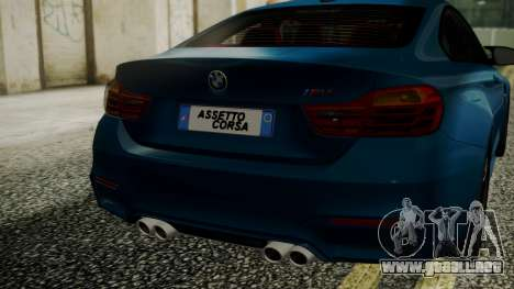 BMW M4 Coupe 2015 Brushed Aluminium para GTA San Andreas vista hacia atrás