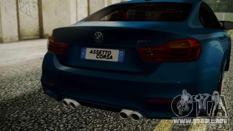 BMW M4 Coupe 2015 Brushed Aluminium para GTA San Andreas vista hacia atrás