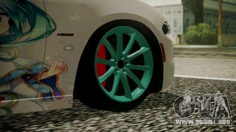 Dodge Charger RT 2015 Hatsune Miku para GTA San Andreas vista posterior izquierda