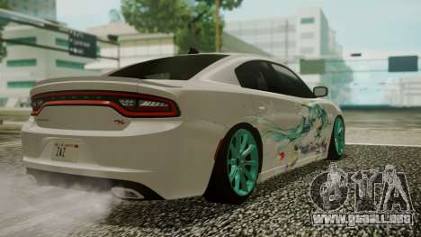 Dodge Charger RT 2015 Hatsune Miku para vista lateral GTA San Andreas