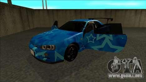 Nissan Skyline R34 Drift Blue Star para GTA San Andreas vista hacia atrás