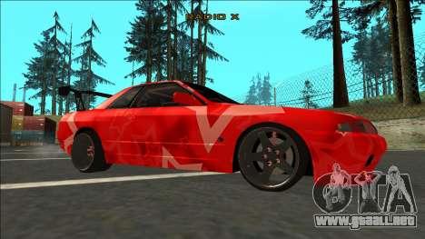 Nissan Skyline R32 Drift Red Star para la visión correcta GTA San Andreas
