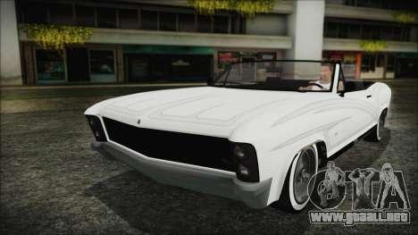 GTA 5 Albany Buccaneer Bobble Version para GTA San Andreas vista hacia atrás