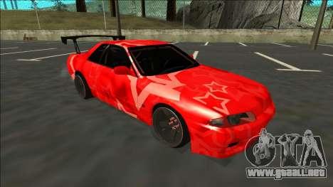 Nissan Skyline R32 Drift Red Star para GTA San Andreas vista posterior izquierda