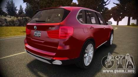 BMW X5 2014 para GTA 4 Vista posterior izquierda