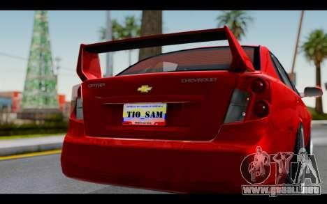 Chevrolet Optra 2007 para visión interna GTA San Andreas