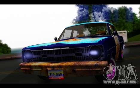 Dodge Dart 1975 v2 Estilo Rusty para GTA San Andreas vista hacia atrás