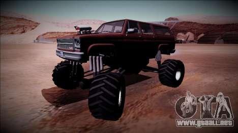 Rancher XL Monster Truck para GTA San Andreas vista hacia atrás