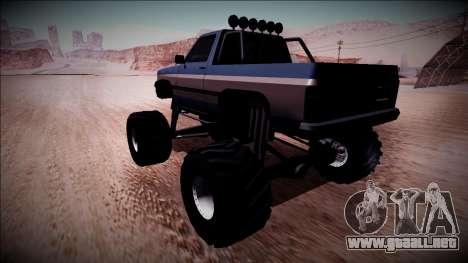 Rancher Monster Truck para GTA San Andreas vista posterior izquierda