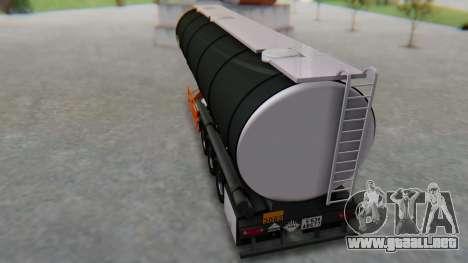 Trailer Cistern para GTA San Andreas vista posterior izquierda