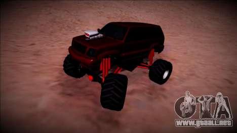 GTA 4 Cavalcade Monster Truck para GTA San Andreas vista hacia atrás