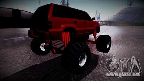 GTA 4 Cavalcade Monster Truck para GTA San Andreas vista posterior izquierda