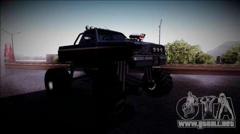 Rancher Monster Truck para GTA San Andreas vista hacia atrás