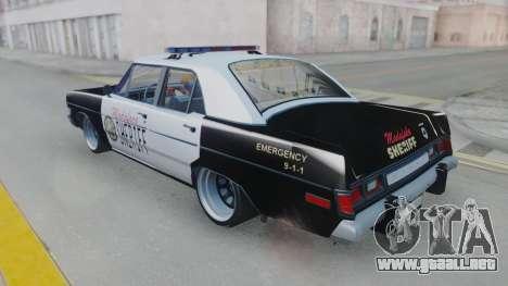 Dodge Dart 1975 v3 Police para la visión correcta GTA San Andreas