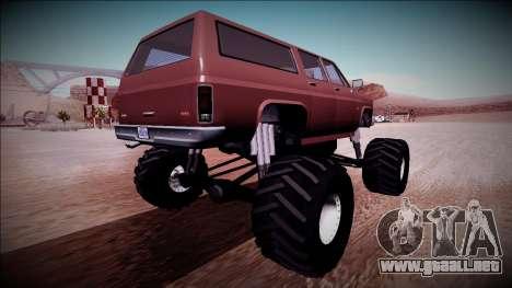 Rancher XL Monster Truck para la visión correcta GTA San Andreas