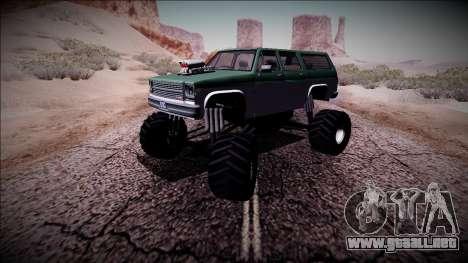 Rancher XL Monster Truck para vista lateral GTA San Andreas