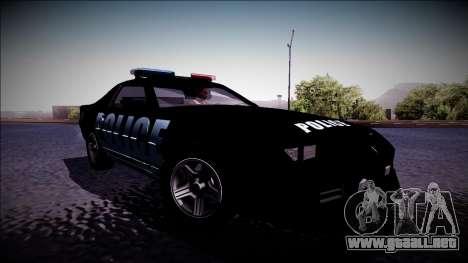 Chevrolet Camaro 1990 IROC-Z Police Interceptor para GTA San Andreas vista posterior izquierda