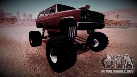 Rancher XL Monster Truck para GTA San Andreas vista posterior izquierda
