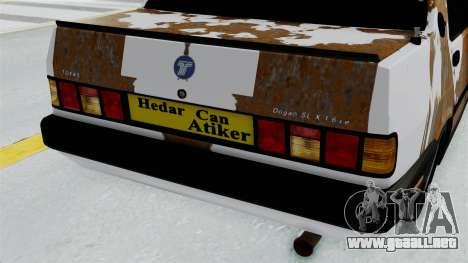 Tofas Dogan Modified para GTA San Andreas vista hacia atrás
