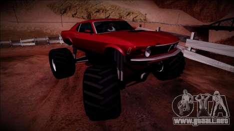 1970 Ford Mustang Boss Monster Truck para la visión correcta GTA San Andreas
