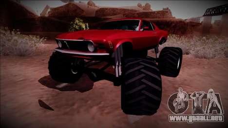 1970 Ford Mustang Boss Monster Truck para GTA San Andreas vista posterior izquierda