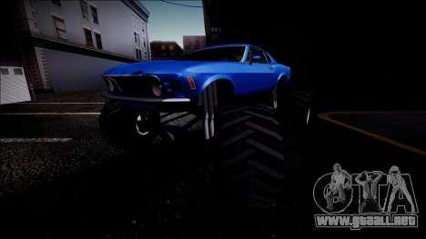 1970 Ford Mustang Boss Monster Truck para las ruedas de GTA San Andreas