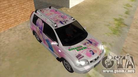 2005 Nissan X-Trail 2.5 XT Tomori Nao Itasha para GTA San Andreas vista hacia atrás