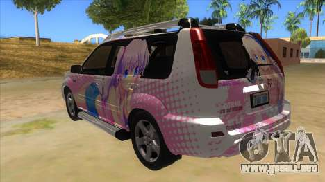 2005 Nissan X-Trail 2.5 XT Tomori Nao Itasha para GTA San Andreas vista posterior izquierda
