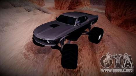1970 Ford Mustang Boss Monster Truck para vista lateral GTA San Andreas
