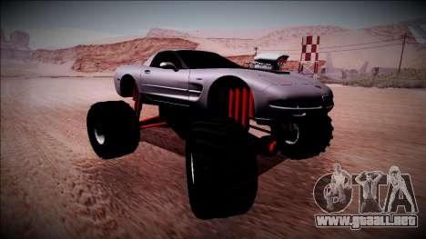Chevrolet Corvette C5 Monster Truck para GTA San Andreas vista posterior izquierda
