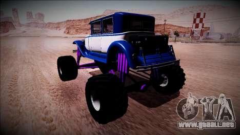 GTA 5 Albany Roosevelt Monster Truck para GTA San Andreas vista posterior izquierda