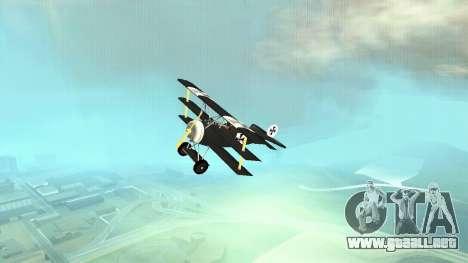 Fokker Dr1 triplane para GTA San Andreas vista hacia atrás